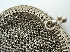 Antique Sterling Silver Mesh Chain Coin Purse