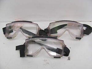 Lot Of 3 new Durafon Iii Professional Safety Chemical Splash Lab Goggles Clear