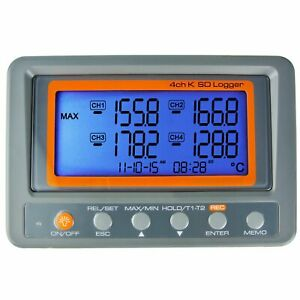 Portable Digital K Type Thermocouple Thermometer Measurer 4 Channel Sd Logger