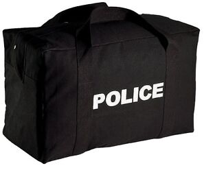 Black Double Sided Police Logo Equipment Gear Bag 24 x15 x13 8116