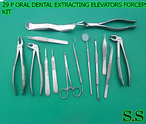 29 P Oral Dental Extraction Surgery Extracting Elevators Forceps Instruments Kit