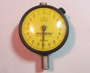 Federal P11 2 Face Dial Indicator Gauge 002mm Increment Used