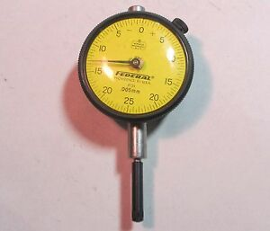 Federal P31 Dial Indicator Gauge W 2 Face 005mm 1 Contact Extension Used