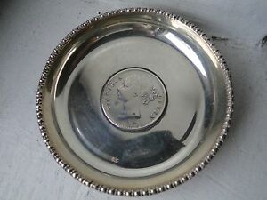 Victoria Coin Dish Memento Sterling Silver East India C 1880 Beaded Edge