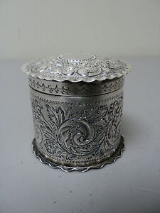 19th C English Sterling Silver Round Lidded Trinket Box Embossed Decoration