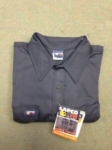 Lapco 7oz Flame Resistant Welding Shirt navy Blue Medium