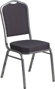 Flash Furniture Hercules Series Crown Back Stacking Banquet Chair With Black