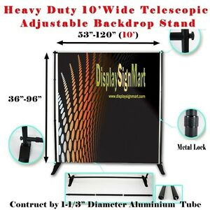 10 Heavy Duty Adjustable Step And Repeat Backdrop Trade Show Wall Banner Stand