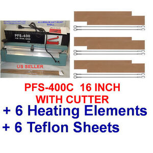 16 Hand Impulse Sealer With Cutter 6 Heating Elements 6 Ptfi Sheets