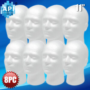 New Male Styrofoam Foam Mannequin Manikin Head 11 Wig Display Hat Glasses 8pc