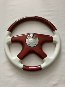 Raptor 15 White Leather Wood Grain Steering Wheel