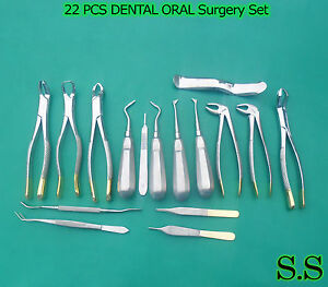22 Pcs Dental Oral Extraction Forceps Elevators Instruments Gold Handle Kit