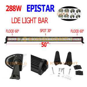 50 Inch 288w Led Light Bar Spot Flood Combo Work Driving Suv Jeep Off Road Lamp