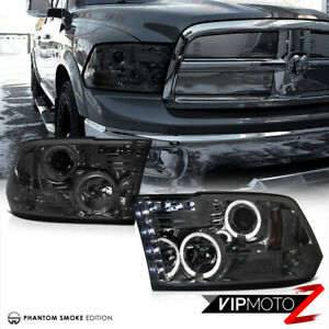 2009 2018 Dodge Ram 1500 2500 3500 Smoke Halo Led Projector Headlights Lamp Pair