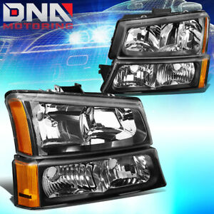 For Chevy Silverado 2003 2006 Euro Black Housing Amber Corner bumper Headlights