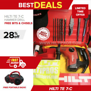 Hilti Te 7 c Hammer Drill Preowned Free Portable Radio Fast Shipping