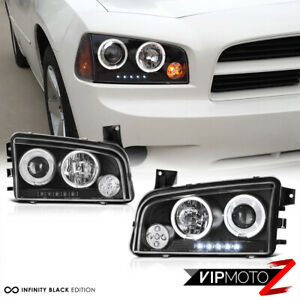 For 06 10 Dodge Charger Halo Angel Eye Led Projector Black Headlight Signal Lamp