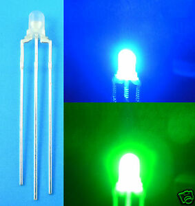 1000pcs New 3mm Dual Bi color Blue Pure Green 3 Pin Led Common Cathode