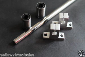 10mm 15 1 2 Hardened Shaft With Bearings Lm10uu Supports Rod Linear Rail Cnc