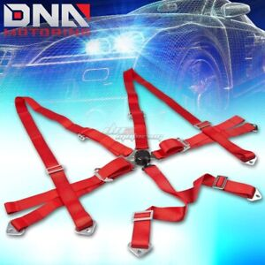 Universal 6 Point 3 Red Nylon Strap Harness Safety Camlock Racing Seat Belt
