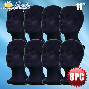 11 Styrofoam Foam Black Velvet Mannequin Manikin Head Display Wig Hat Glass 8pc
