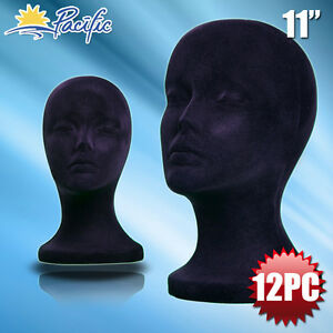 11 Styrofoam Foam Black Velvet Mannequin Manikin Head Display Wig Hat Glass12pc