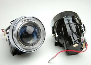 3 White Angel Eyes Halo Bumper Projector Round Fog Light Lamp Complete Kit