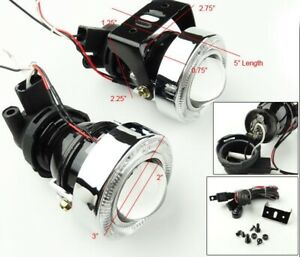 New Pair Jdm H3 Projector Fog Lights Driving Lamps Hid Ready Kit With Brackets