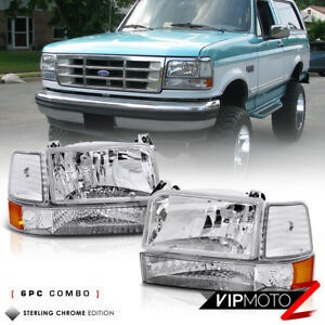 1992 1996 Ford Bronco F150 F250 F350 Factory Style 6p Corner Bumper Head Light