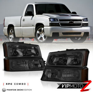2003 2006 Chevy Silverado 4pc Smoke Signal Bumper Head Light Lamp Complete Kit