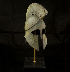 Ancient Greek Helmet With Nike Victory Crest And Owl Carvings Marble Based