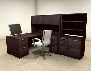 7pc L Shaped Modern Executive Office Desk ot sul l15