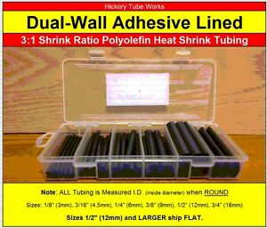 Dual wall 3 1 Adhesive Lined Heat Shrink Tubing 3 4 1 2 3 8 1 4 3 16 1 8