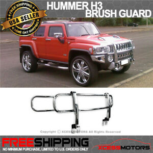 Fits 06 10 Hummer H3 Stainless Steel Ss Front Brush Grill Guard Polished Chrome