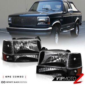 1992 1996 Ford F150 F250 F350 Bronco Black Signal Bumper Headlights Corner Lamps
