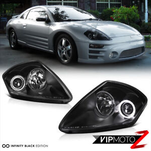 Clean Design 2000 2005 Mitsubishi Eclipse Black Angel Eye Head Light Projector