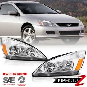 For 03 07 Honda Accord Headlight Crystal Clear Chrome Replacement Front Signal