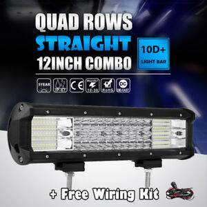 10d 12inch 1128w Quad Row Led Light Bar Spot Flood Offroad Fit Jeep Truck 72w