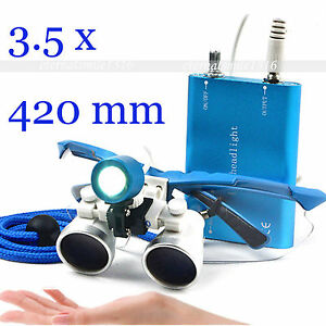 Blue 3 5x Dental Loupes Lupen Dentist Optical Glasses 420mm With Led Head Light