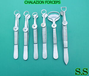 Set Of 6 Pcs O r Grade Chalazion Forceps Surgical Dermal Ophthalmic Instruments