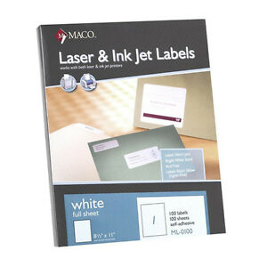 600 Maco Ml 0100 Full Sheet Labels 8 1 2 X 11 Ml0100 6 Boxes