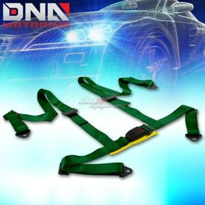 Universal 4 Point 2 Green Nylon Strap Harness Safety Buckle Racing Seat Belt