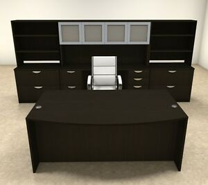10pc Fan Front Modern Executive Office Desk Set ot sul d16