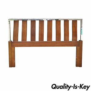 Vintage Mid Century Modern Walnut Chrome Queen Bed Headboard Danish Baughman Sty