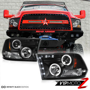 2009 2018 Dodge Ram 1500 2500 3500 Angel Eye Halo Led Projector Black Headlights