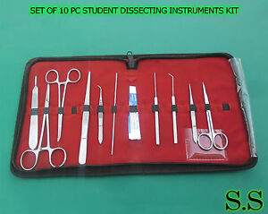 Set Of 10 Pc Student Dissecting Dissection Medical Instruments Kit 5 Blades 15