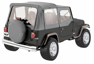 1988 1995 Gray New For Jeep Wrangler Soft Top Upper Skins 9870211