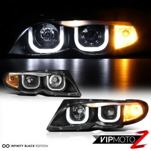 Bmw E46 3 Series 325 330 Sedan Euro Black 3d U Bar Halo Projector Headlight Lamp