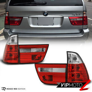 Euro Spec For Bmw E53 X5 00 06 Red Clear 4pc Tail Light Brake Signal Lamp Pair