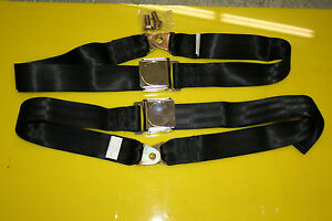 Universal Lap Belt Pair With Aircraft Latch Seat Belt Black And Chrome